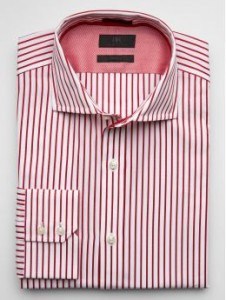 This red prinstripe shirt adds color to your outfit.  Banana Republic $125