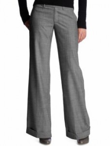 These wide leg grey pants are a relaxed fit through the leg.  Gap $64.50