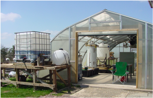 """Refining site for """"BU Biofuel Initiative"""" on upper campus. photo by Dr. Mark Tapsak"""