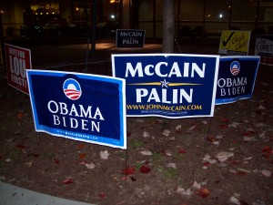 Signs outside the Kehr Union on Election Day