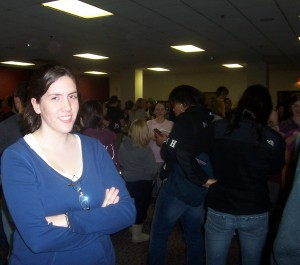 Jill Schmidt, a BU student, waits patiently for a chance to vote.