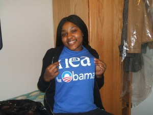 Jahquay wears her Obama shirt patiently waiting for November 4