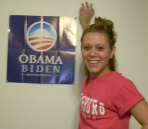 Emily Brown, proud to support Obama.