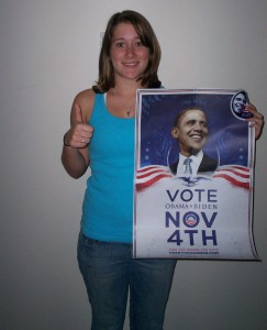 Bloomsburg University student Jenie Boehm proudly displays a poster showing her support for Barack Obama.