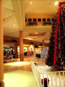 The Columbia Mall appears empty despite the approaching holiday.