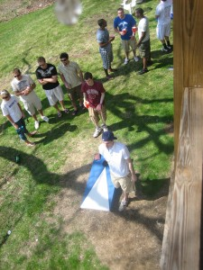 Bloomsburg students enjoy a game of cornhole at Block Party.