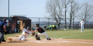 Sliding at the plate!