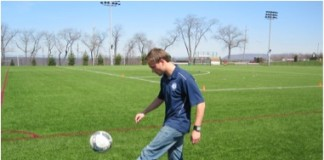 Paul Huckett and soccer ball.