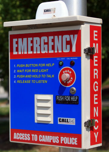 Emergency call box provide contact to campus police in the event of a hazardous or dangerous situation.