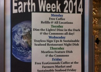 Dining schedule for Earth Day