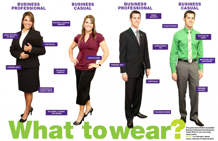 A detailed visual guide to business casual attire.