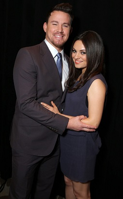 Mila Kunis and Channing Tatum at her first red carpet since the pregnancy news broke in Las Vegas (photo from www.eonline.com)