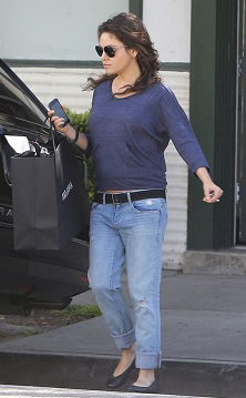 Mila Kunis shopping in Beverly Hills with her bump on display