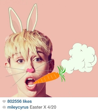 Cyrus took to Instagram once again to express her 4/20 feelings