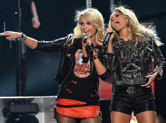 "Miranda Lambert (left) and Carrie Underwood (right) during their ""Somethin Bad"" duet (photo from www.eonline.com Frazer Harrison/Getty Images)"
