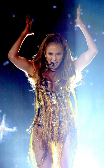"""Jennifer Lopez performing """"First Love"""" (photo from www.eonline.com Ethan Miller/Getty Images"""