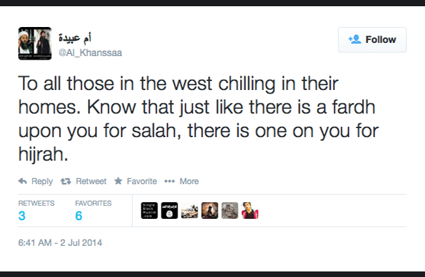 Tweet by Twitter User and ISIS Supporter al_Khanssaa (source: http://nymag.com/daily/intelligencer/2014/09/meet-the-female-recruiters-of-isis.html)