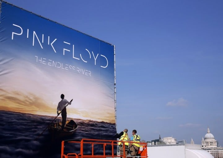 "Advertising for the new Pink Floyd album ""The Endless River"" is installed on a four sided billboard on the South Bank in London"