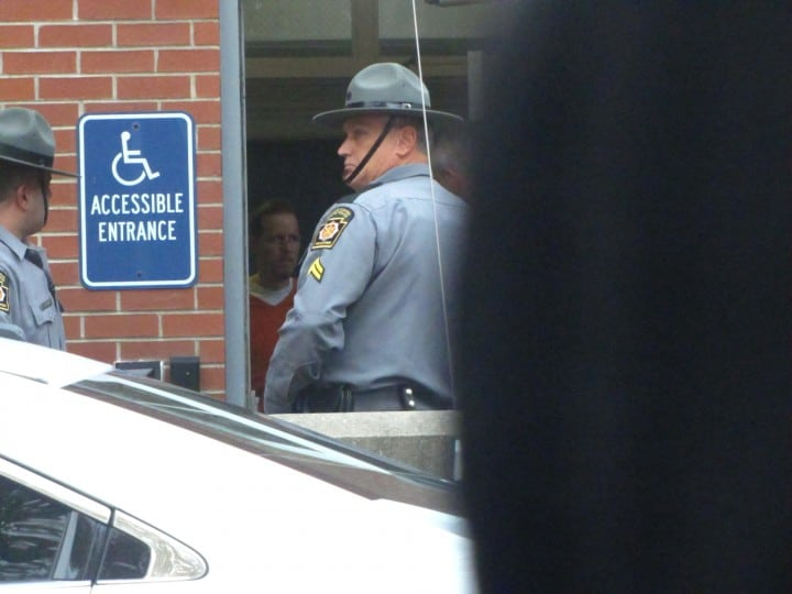 Eric Frein waiting to exit the Pike Country Court House in Milford