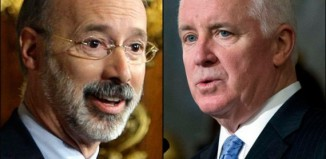 Tom Wolf (left) and Tom Corbett (right)