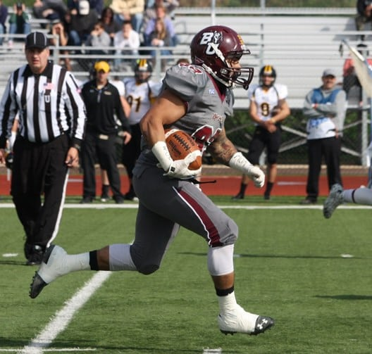 Running Back Eddie Mateo now leads the PSAC with 11 rushing touchdowns on the season after his three-touchdown performance against Millersville. (Bloomsburg University Sports Information)