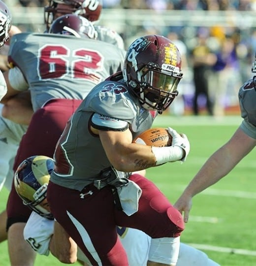 Running Back Eddie Mateo ran for a career high 269 yards  and four touchdowns against a tough West Chester defense.  The senior currently leads the PSAC with 20 touchdowns. (Bloomsburg University Sports Information)