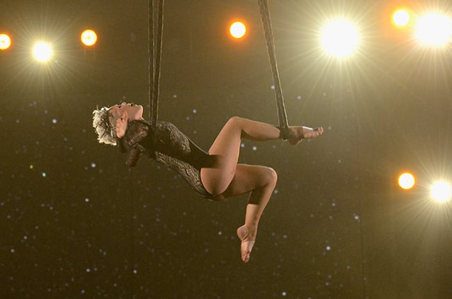 Pink performing at the 2014 Grammy's