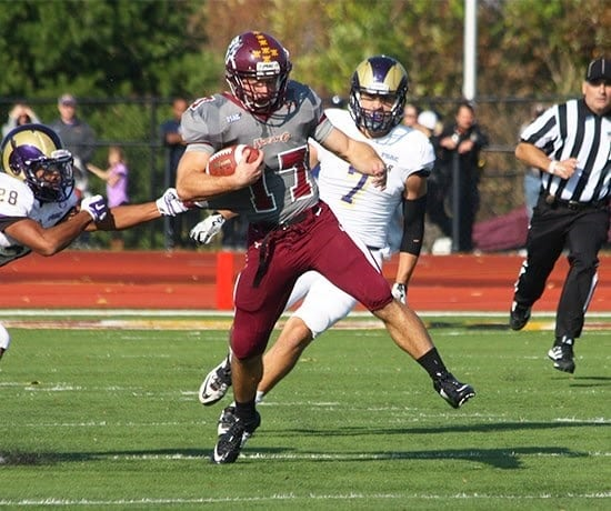 Safety Jerrin Toomey was all over the field against the  Golden Rams, recording three interceptions and two tackles. (Bloomsburg University Sports Information)