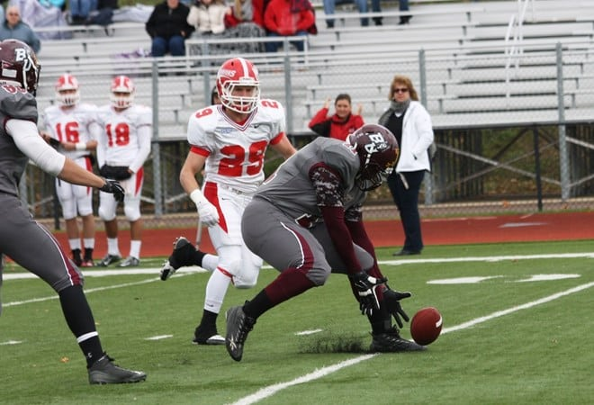 Defensive Tackle Jeremiah Lowery was a part of the turnover machine known as the BU defense, with a fumble recovery in the first quarter. (Bloomsburg University Sports Information)