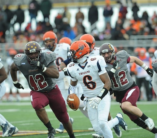 The Bloomsburg defense left little time for Virginia St. quarterback,   Tarian Ayres, to throw. Sacking him a total of eight times.  (Bloomsburg University Sports Information)