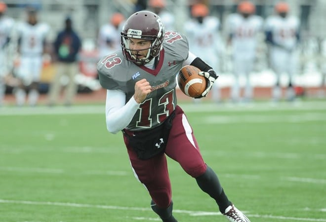 Quarterback Tim Kelly now has eight rushing touchdowns   on the season after accumulating a trio of scores against VSU.  (Bloomsburg University Sports Information)