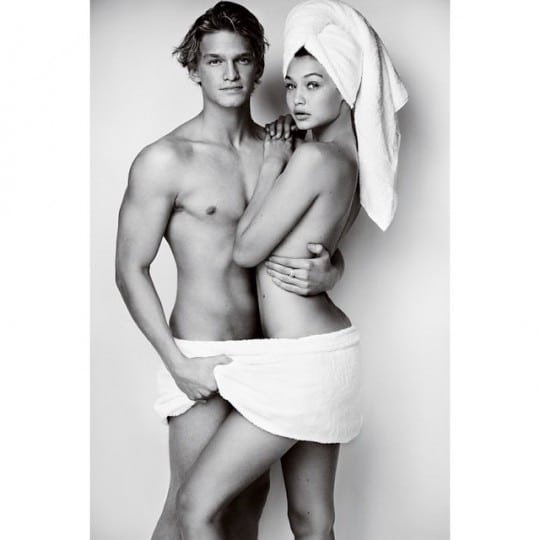 cody-simpson-gigi-hadid-naked-towel-series