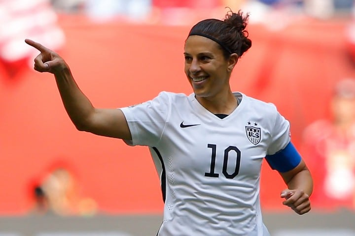VANCOUVER, BC - JULY 05: Carli Lloyd #10 of the United States celebrates scoring the opening goal against Japan in the FIFA Women's World Cup Canada 2015 Final at BC Place Stadium on July 5, 2015 in Vancouver, Canada. (Photo by Kevin C. Cox/Getty Images)