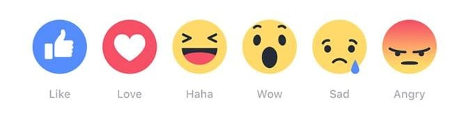 Facebook's six new emoji reactions.