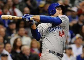 Anthony Rizzo hits a solo home run against the Milwaukee Brewers.