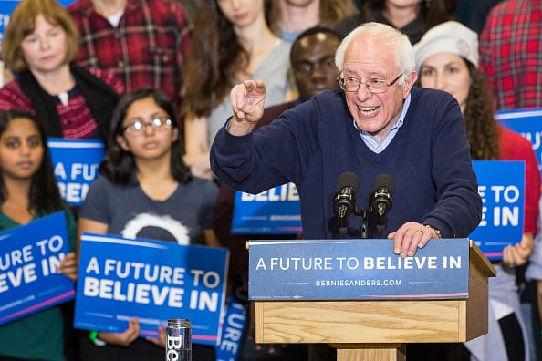 PORTSMOUTH, NH - FEBRUARY 07: Democratic presidential candidate Sen. Bernie Sanders (D-VT) speaks at a campaign rally at Great Bay Community College on February 7, 2016 in Portsmouth, New Hampshire. Sanders is hoping to win the New Hampshire democratic primary on Tuesday. (Photo by Andrew Burton/Getty Images)