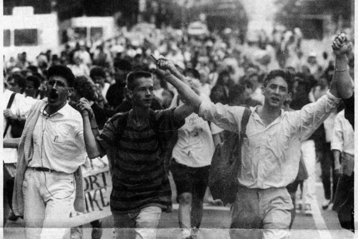Temple University students march during the 1990 strike (from http://temple-news.com/news/recent-protests-african-american-studies-department-revisit-old-battles/)