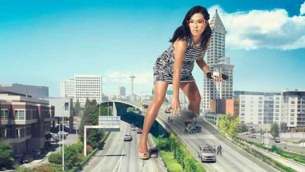 "Ali Wong hilariously photoshopped towering over a ""city."""