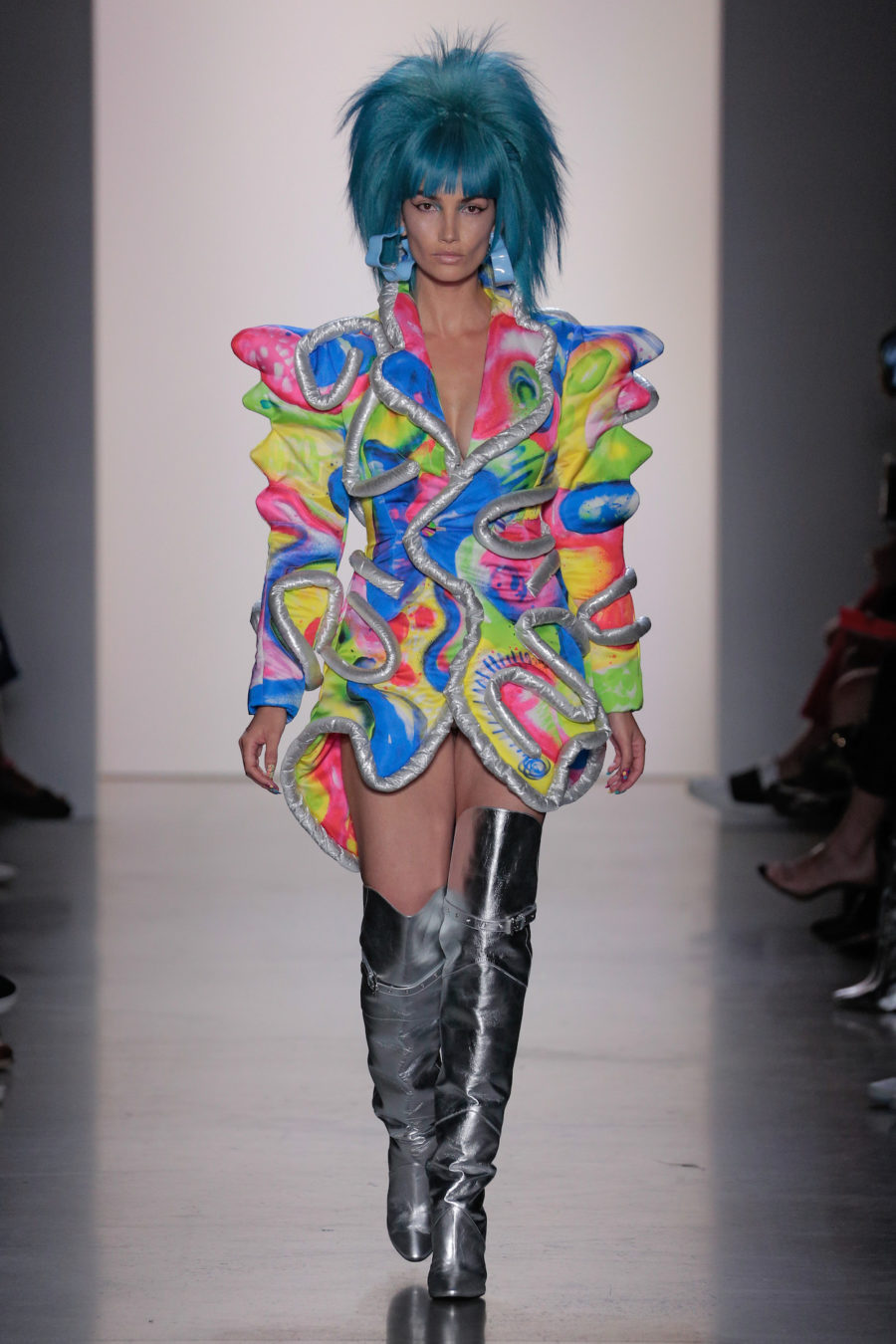 Model walks the runway for Jeremy Scott ss20 collection