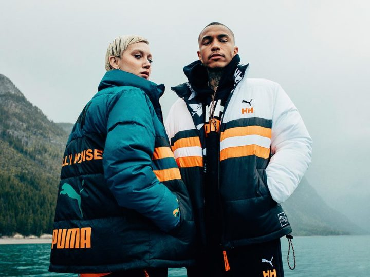 Models wearing puffer coats from the PUMA X HELLY HANSEN line.