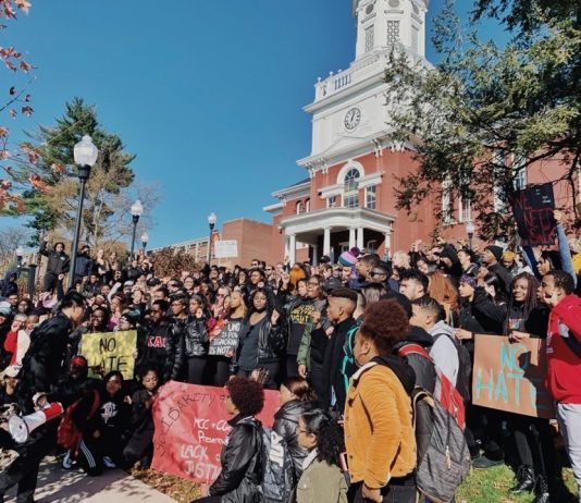 Protesting students at Carver Hall