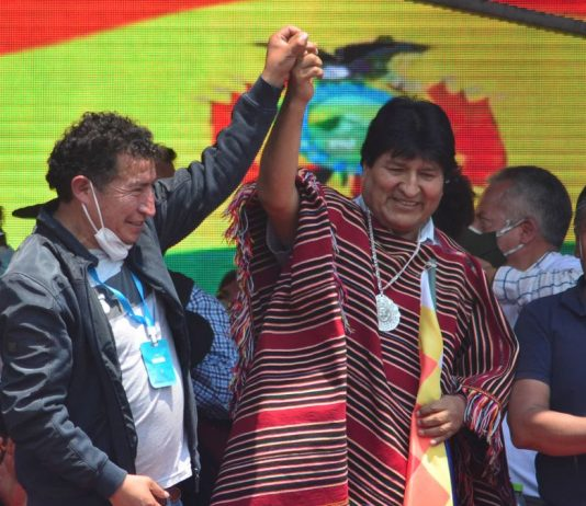 Evo Morales celebrating his return with supporters. CNN.